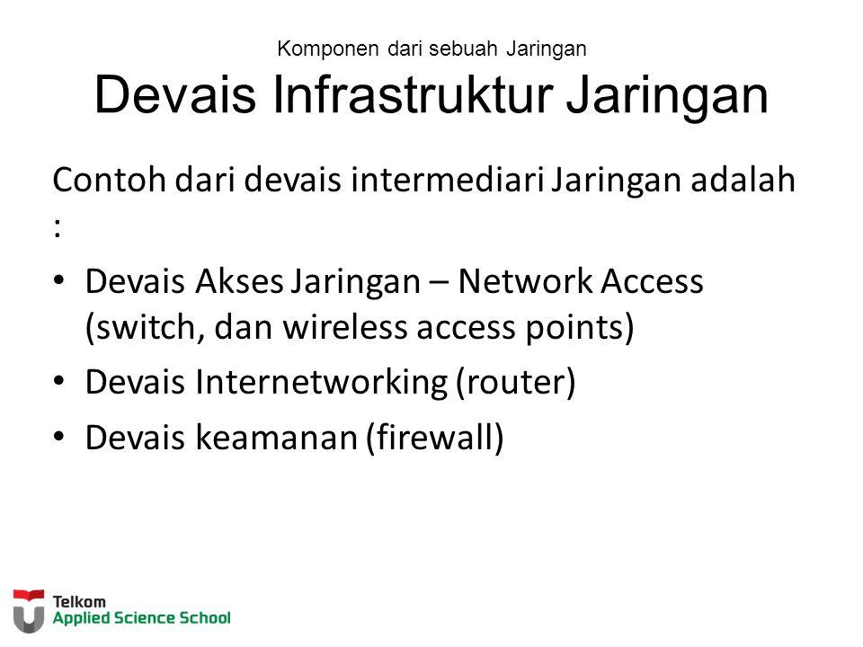 Komponen dari sebuah Jaringan Devais Infrastruktur Jaringan Contoh dari devais intermediari Jaringan adalah : Devais Akses Jaringan – Network Access (
