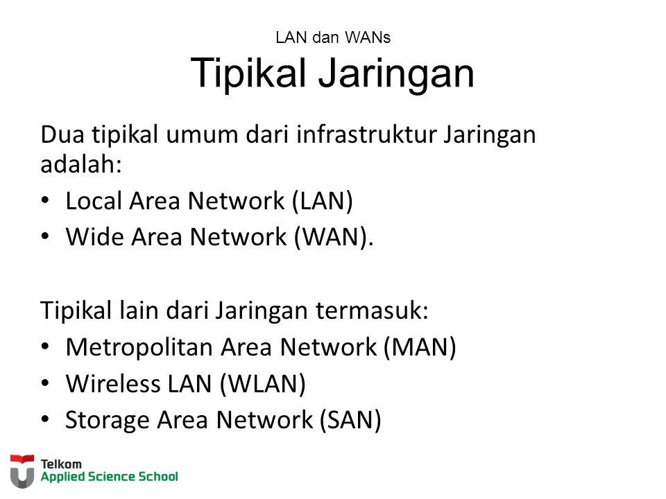 LAN dan WANs Tipikal Jaringan Dua tipikal umum dari infrastruktur Jaringan adalah: Local Area Network (LAN) Wide Area Network (WAN). Tipikal lain dari