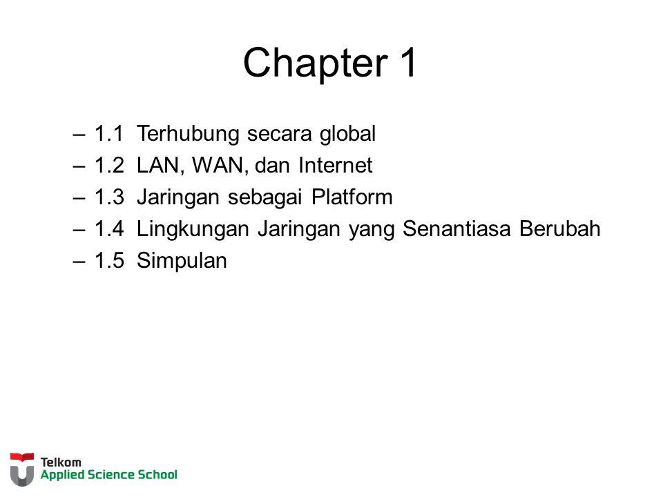 Chapter 1 –1.1 Terhubung secara global –1.2 LAN, WAN, dan Internet –1.3 Jaringan sebagai Platform –1.4 Lingkungan Jaringan yang Senantiasa Berubah –1.