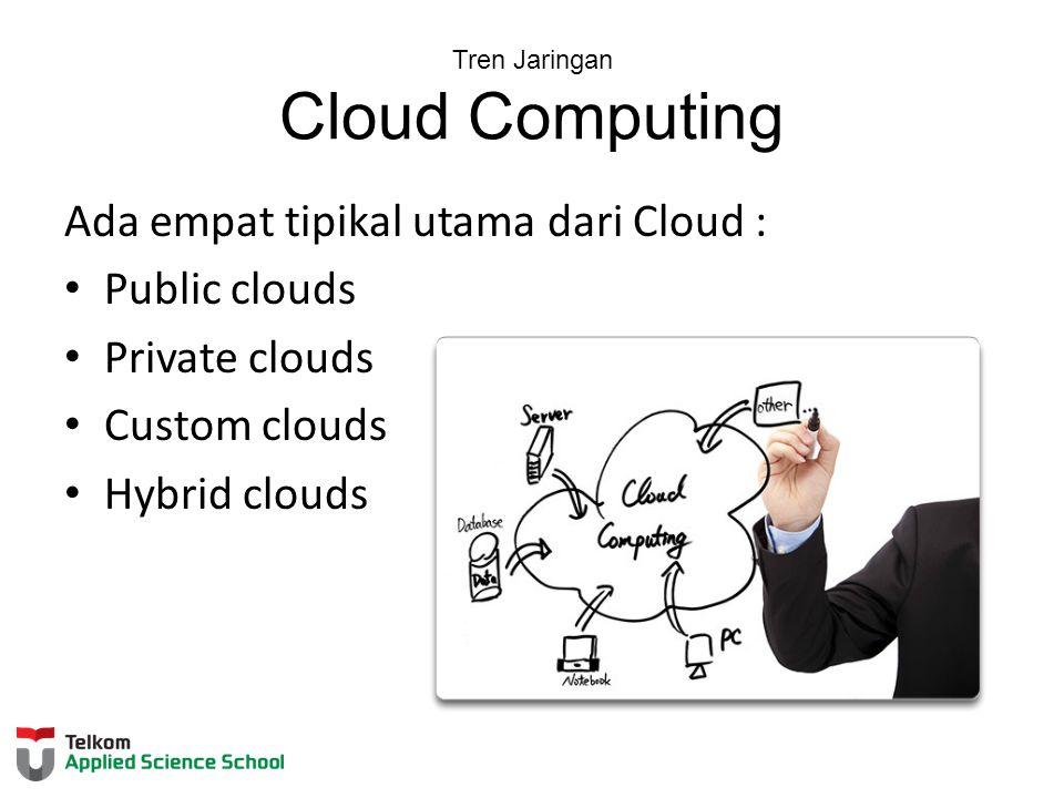 Tren Jaringan Cloud Computing Ada empat tipikal utama dari Cloud : Public clouds Private clouds Custom clouds Hybrid clouds