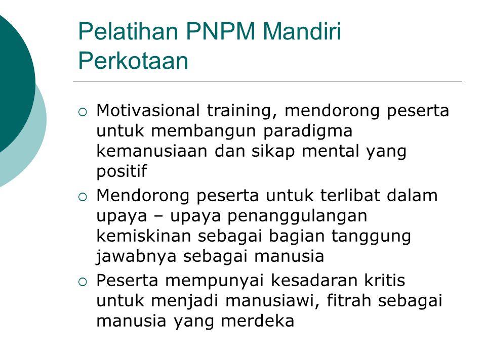 Pelatihan PNPM Mandiri Perkotaan  Motivasional training, mendorong peserta untuk membangun paradigma kemanusiaan dan sikap mental yang positif  Mend