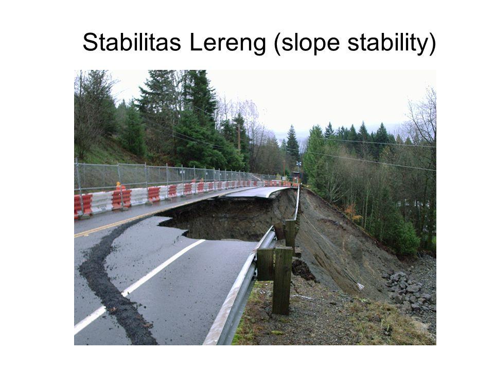 Stabilitas Lereng Menerus (infinite slope) Tanpa rembesan air Tegangan geser (  ) diimbangi/ ditahan oleh kuat geser tanah (  f )  f = c +  tan   f = c + L H  cos  tan  Stabilitas lereng :