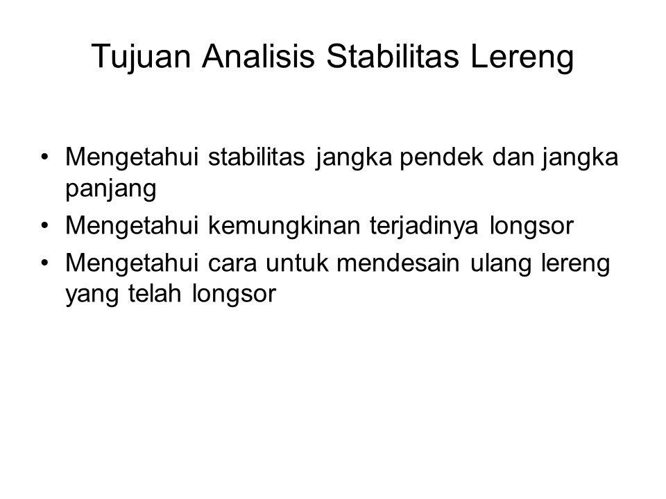 Tujuan Analisis Stabilitas Lereng Mengetahui stabilitas jangka pendek dan jangka panjang Mengetahui kemungkinan terjadinya longsor Mengetahui cara unt