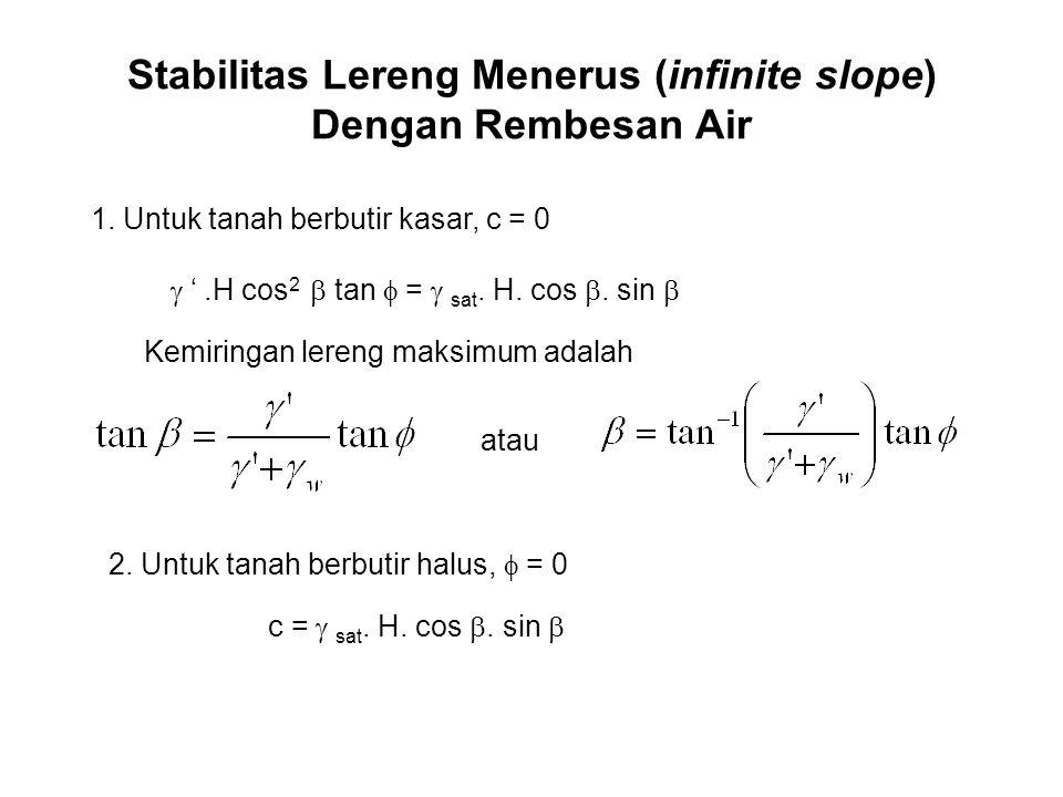 Stabilitas Lereng Menerus (infinite slope) Dengan Rembesan Air 1. Untuk tanah berbutir kasar, c = 0  ' .H cos 2  tan  =  sat. H. cos . sin 