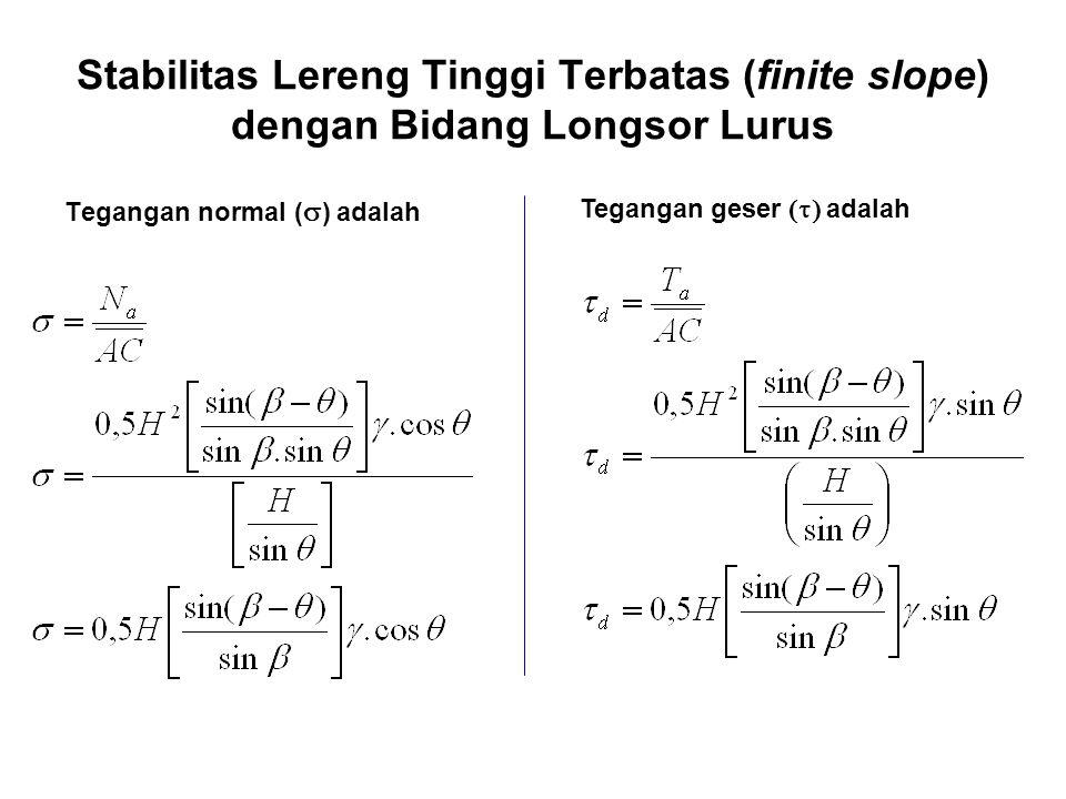 Stabilitas Lereng Tinggi Terbatas (finite slope) dengan Bidang Longsor Lurus Tegangan normal (  ) adalah Tegangan geser  adalah