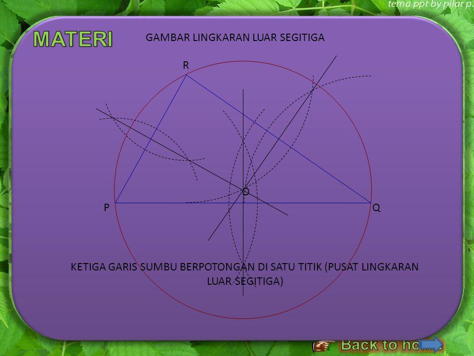 LANGKAH – LANGKAH MELUKIS LINGKARAN LUAR SEGITIGA 1.Lukislah sebuah segitiga sebarang, misalnya Δ PQR. Kemudian, 2.Lukislah garis sumbu PQ. 3.Lukislah