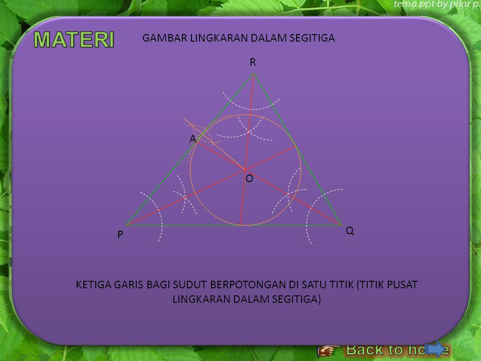 LANGKAH – LANGKAH MELUKIS LINGKARAN DALAM SEGITIGA 1.Lukislah sebuah segitiga sebarang, misalkan Δ PQR. Kemudian, lukislah garis bagi ∠ P. 2. Lukislah