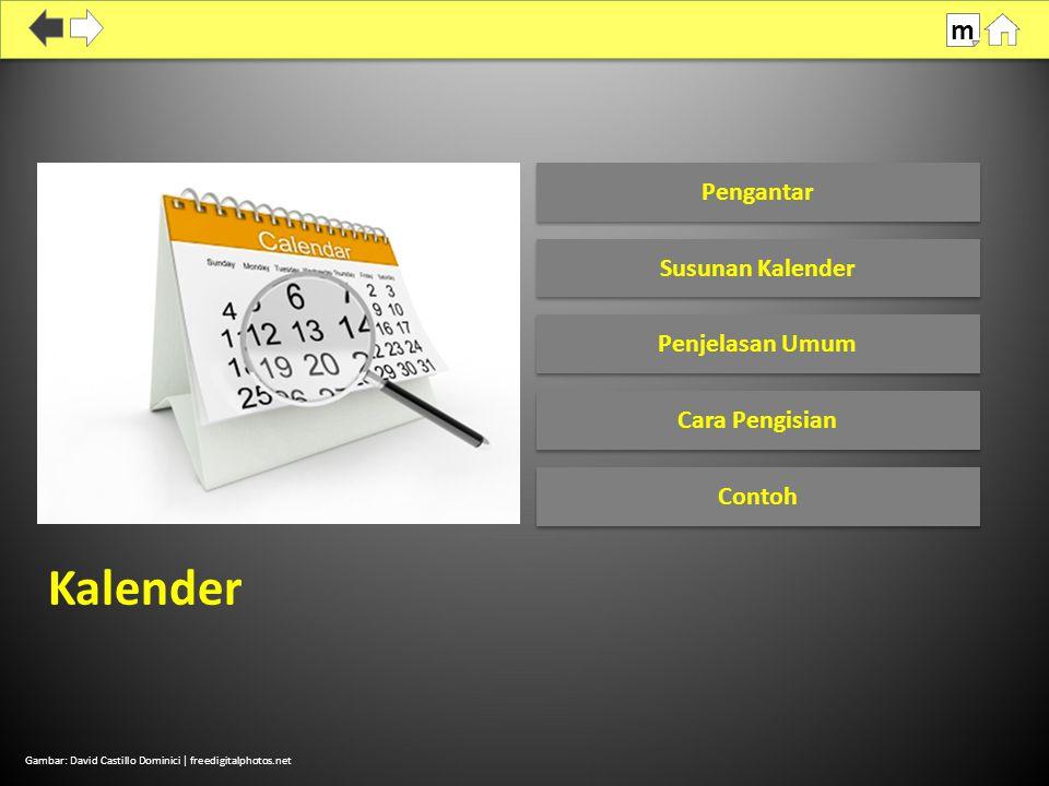 Kalender merekam kejadian dalam kehidupan responden sejak Januari 2007 yang mencakup:  Kol (1): Kelahiran, kehamilan, penggunaan alat/cara KB  Kol (2): Sumber alat/cara KB  Kol (3): Alasan berhenti (ganti) memakai alat/cara KB  Kol (4): Status perkawinan 100% SDKI 2012 Susunan Kalender m Pedoman WUS Hal.
