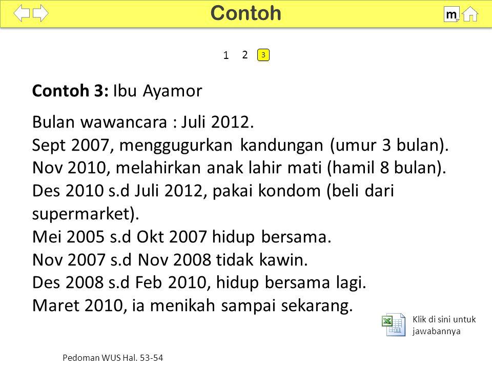 Contoh 3: Ibu Ayamor Bulan wawancara : Juli 2012.Sept 2007, menggugurkan kandungan (umur 3 bulan).