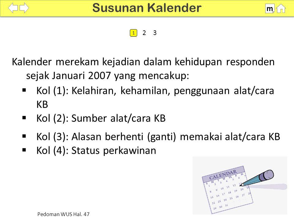  Kotak yang harus terisi adalah mulai kotak Bulan Januari 2007 sampai dengan bulan wawancara.