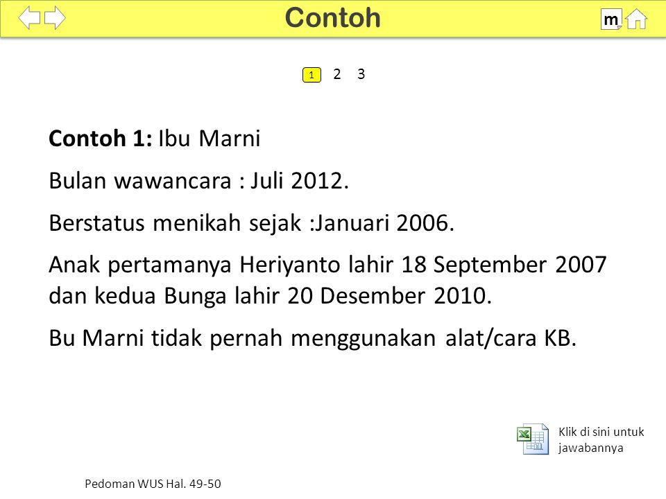 Contoh 2: Ibu Umi Memakai KB pil yang diperoleh dari apotek pada bulan Januari 2007 dan berhenti bulan Februari 2008 karena ingin hamil.