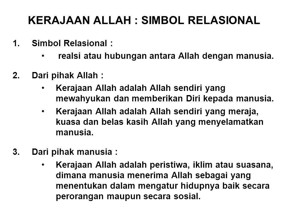 KERAJAAN ALLAH : SIMBOL RELASIONAL 1.Simbol Relasional : realsi atau hubungan antara Allah dengan manusia.