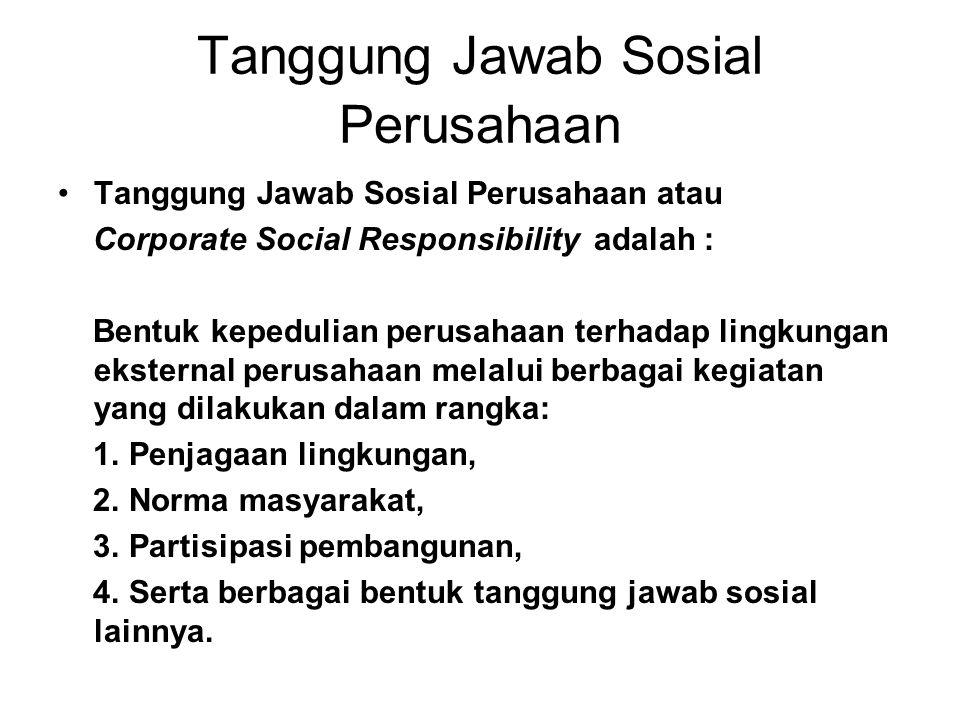 Tanggung Jawab Sosial Perusahaan Tanggung Jawab Sosial Perusahaan atau Corporate Social Responsibility adalah : Bentuk kepedulian perusahaan terhadap