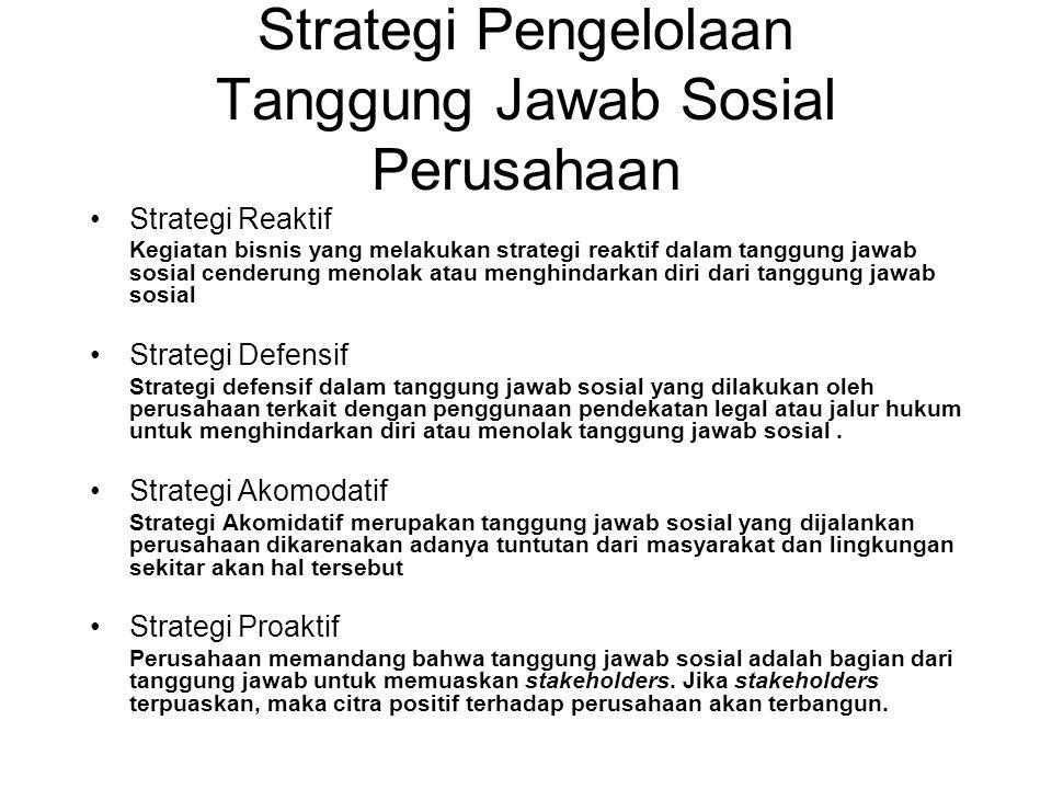 Strategi Pengelolaan Tanggung Jawab Sosial Perusahaan Strategi Reaktif Kegiatan bisnis yang melakukan strategi reaktif dalam tanggung jawab sosial cen