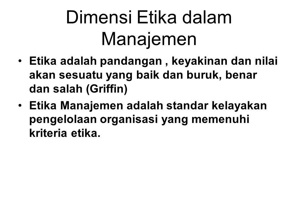 Dimensi Etika dalam Manajemen Etika adalah pandangan, keyakinan dan nilai akan sesuatu yang baik dan buruk, benar dan salah (Griffin) Etika Manajemen
