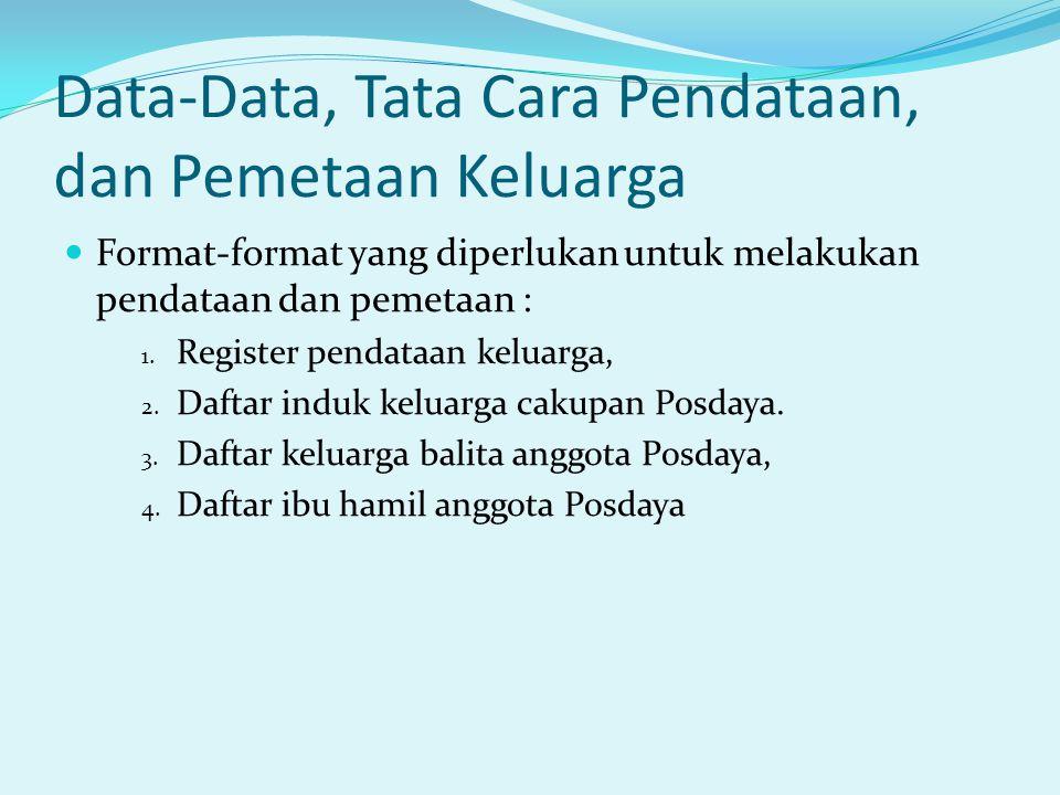 Data-Data, Tata Cara Pendataan, dan Pemetaan Keluarga Format-format yang diperlukan untuk melakukan pendataan dan pemetaan : 1. Register pendataan kel
