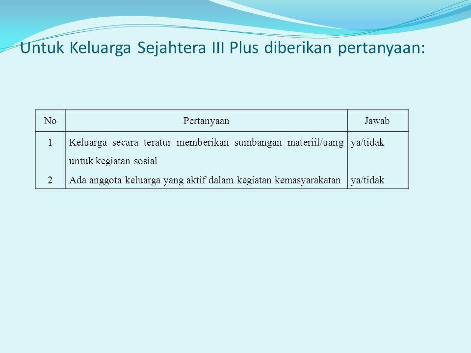 Untuk Keluarga Sejahtera III Plus diberikan pertanyaan: NoPertanyaanJawab 1212 Keluarga secara teratur memberikan sumbangan materiil/uang untuk kegiat