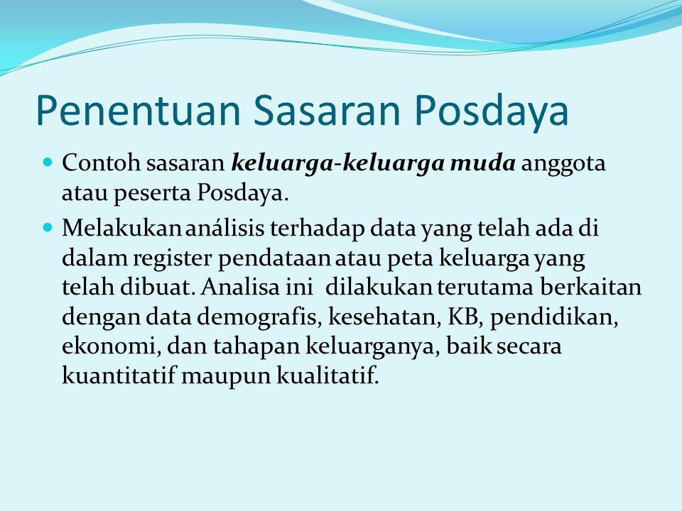 Penentuan Sasaran Posdaya Contoh sasaran keluarga-keluarga muda anggota atau peserta Posdaya. Melakukan análisis terhadap data yang telah ada di dalam