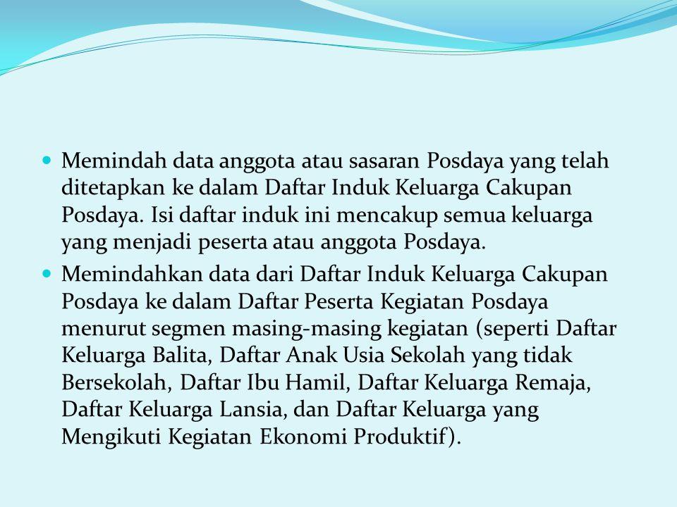 Memindah data anggota atau sasaran Posdaya yang telah ditetapkan ke dalam Daftar Induk Keluarga Cakupan Posdaya. Isi daftar induk ini mencakup semua k