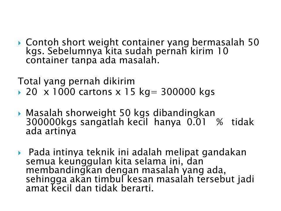  Contoh short weight container yang bermasalah 50 kgs.