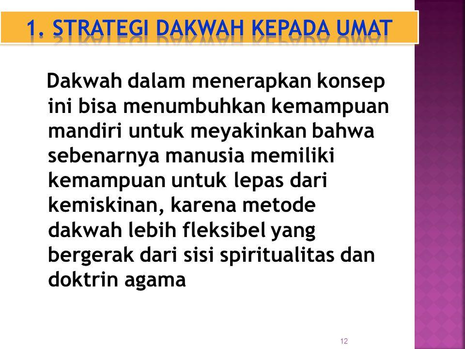 12 Dakwah dalam menerapkan konsep ini bisa menumbuhkan kemampuan mandiri untuk meyakinkan bahwa sebenarnya manusia memiliki kemampuan untuk lepas dari kemiskinan, karena metode dakwah lebih fleksibel yang bergerak dari sisi spiritualitas dan doktrin agama