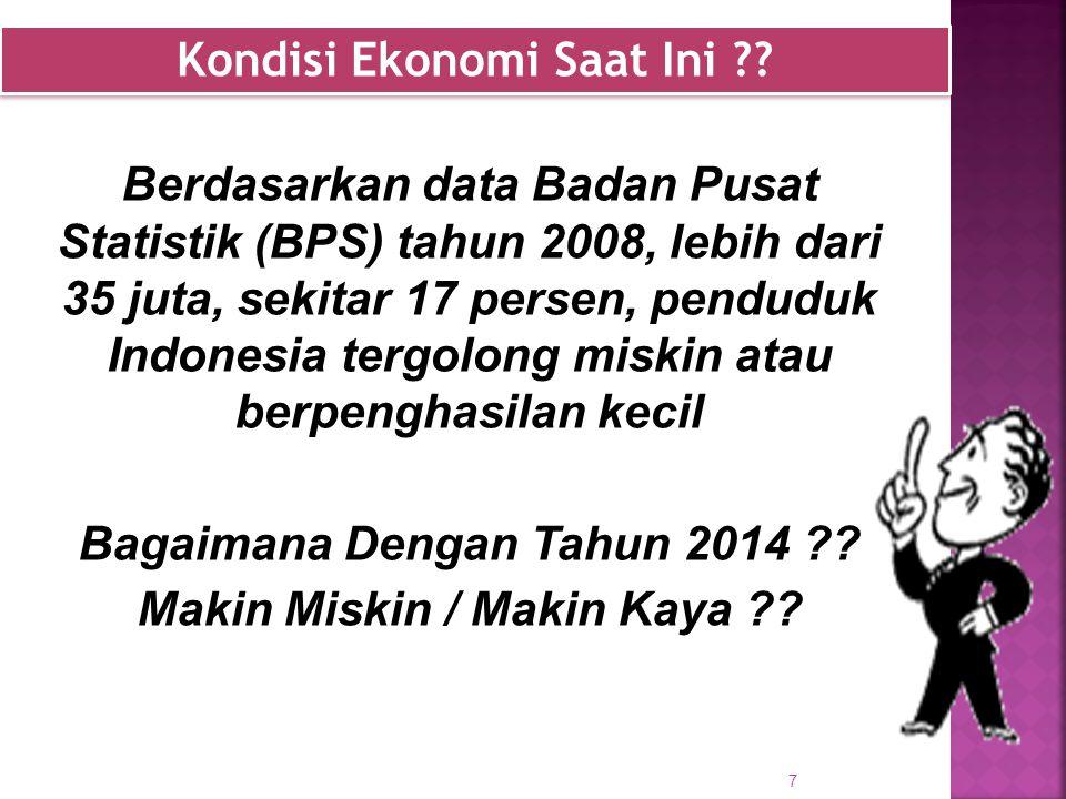 Berdasarkan data Badan Pusat Statistik (BPS) tahun 2008, lebih dari 35 juta, sekitar 17 persen, penduduk Indonesia tergolong miskin atau berpenghasilan kecil Bagaimana Dengan Tahun 2014 .
