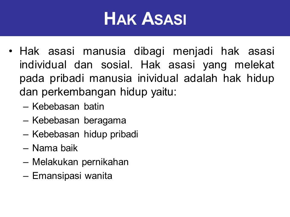 H AK A SASI Hak asasi manusia dibagi menjadi hak asasi individual dan sosial.