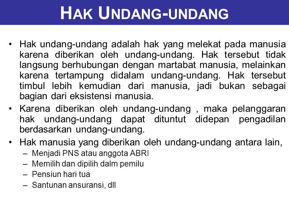 H AK U NDANG - UNDANG Hak undang-undang adalah hak yang melekat pada manusia karena diberikan oleh undang-undang.