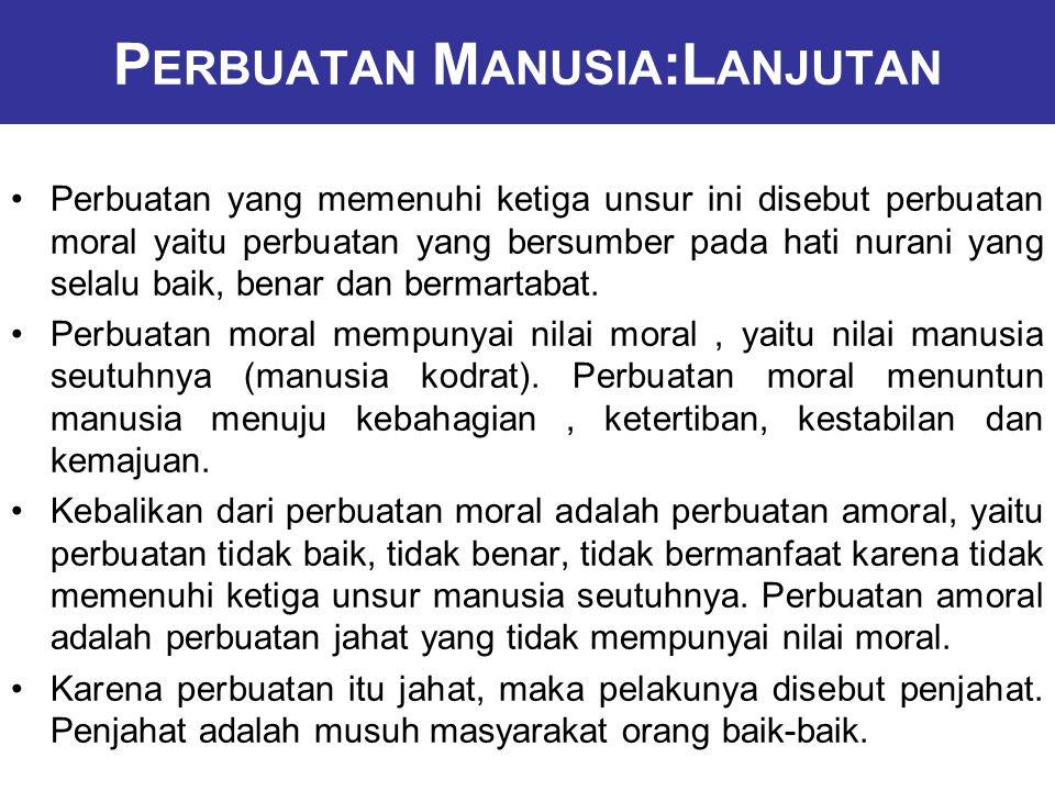P ERBUATAN M ANUSIA :L ANJUTAN Perbuatan yang memenuhi ketiga unsur ini disebut perbuatan moral yaitu perbuatan yang bersumber pada hati nurani yang selalu baik, benar dan bermartabat.