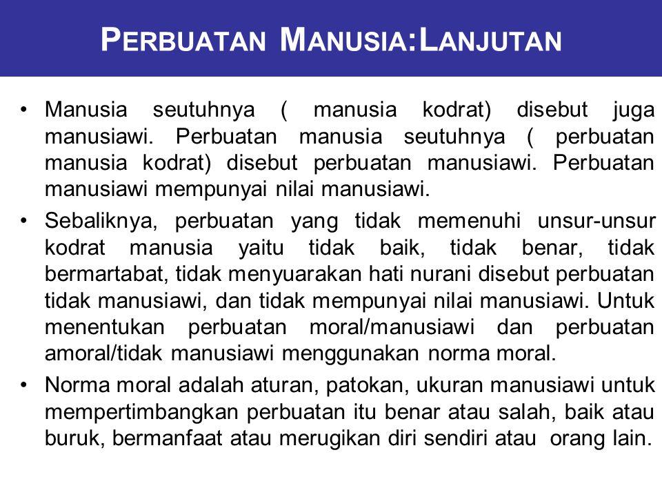 P ERBUATAN M ANUSIA :L ANJUTAN Manusia seutuhnya ( manusia kodrat) disebut juga manusiawi.