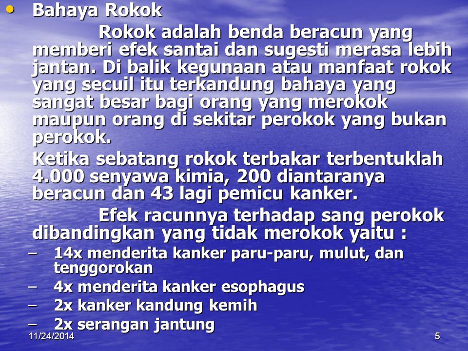 11/24/20145 Bahaya Rokok Bahaya Rokok Rokok adalah benda beracun yang memberi efek santai dan sugesti merasa lebih jantan. Di balik kegunaan atau manf
