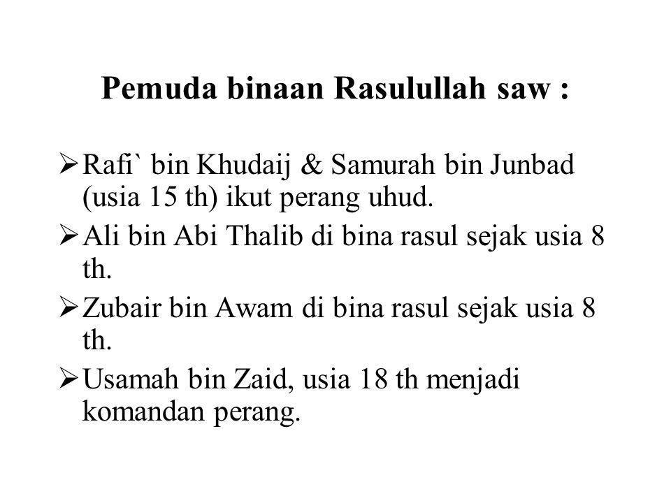 Pemuda binaan Rasulullah saw :  Rafi` bin Khudaij & Samurah bin Junbad (usia 15 th) ikut perang uhud.  Ali bin Abi Thalib di bina rasul sejak usia 8