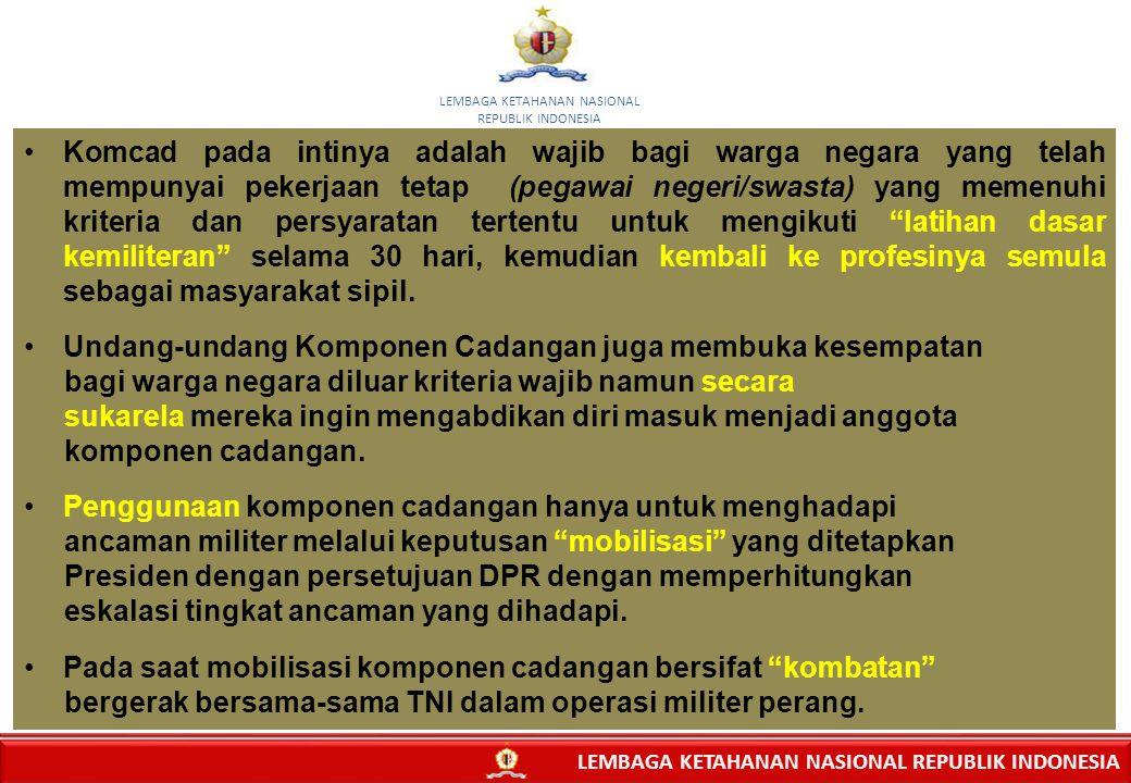 10 Komcad pada intinya adalah wajib bagi warga negara yang telah mempunyai pekerjaan tetap (pegawai negeri/swasta) yang memenuhi kriteria dan persyara