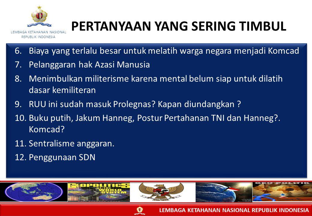 LEMBAGA KETAHANAN NASIONAL REPUBLIK INDONESIA LEMBAGA KETAHANAN NASIONAL REPUBLIK INDONESIA 6.Biaya yang terlalu besar untuk melatih warga negara menj