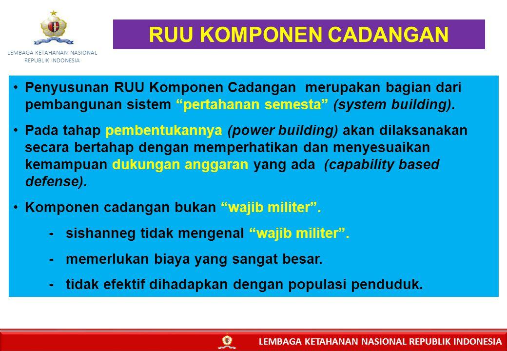 "9 Penyusunan RUU Komponen Cadangan merupakan bagian dari pembangunan sistem ""pertahanan semesta"" (system building). Pada tahap pembentukannya (power b"