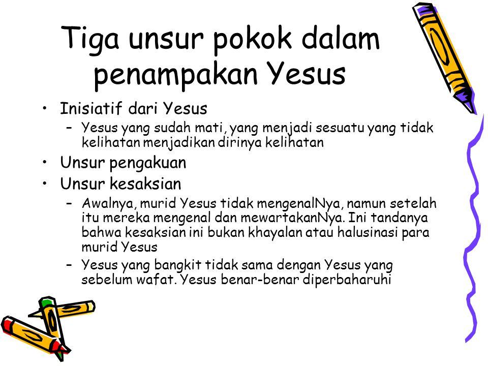 Tiga unsur pokok dalam penampakan Yesus Inisiatif dari Yesus –Y–Yesus yang sudah mati, yang menjadi sesuatu yang tidak kelihatan menjadikan dirinya ke