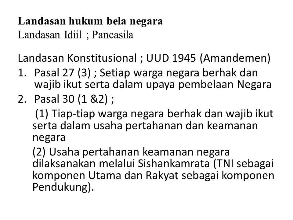 Landasan hukum bela negara Landasan Idiil ; Pancasila Landasan Konstitusional ; UUD 1945 (Amandemen) 1.Pasal 27 (3) ; Setiap warga negara berhak dan w