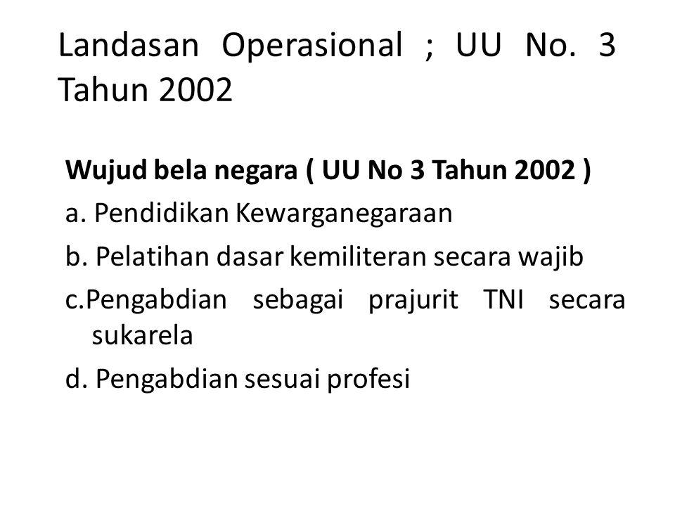 Landasan Operasional ; UU No. 3 Tahun 2002 Wujud bela negara ( UU No 3 Tahun 2002 ) a. Pendidikan Kewarganegaraan b. Pelatihan dasar kemiliteran secar
