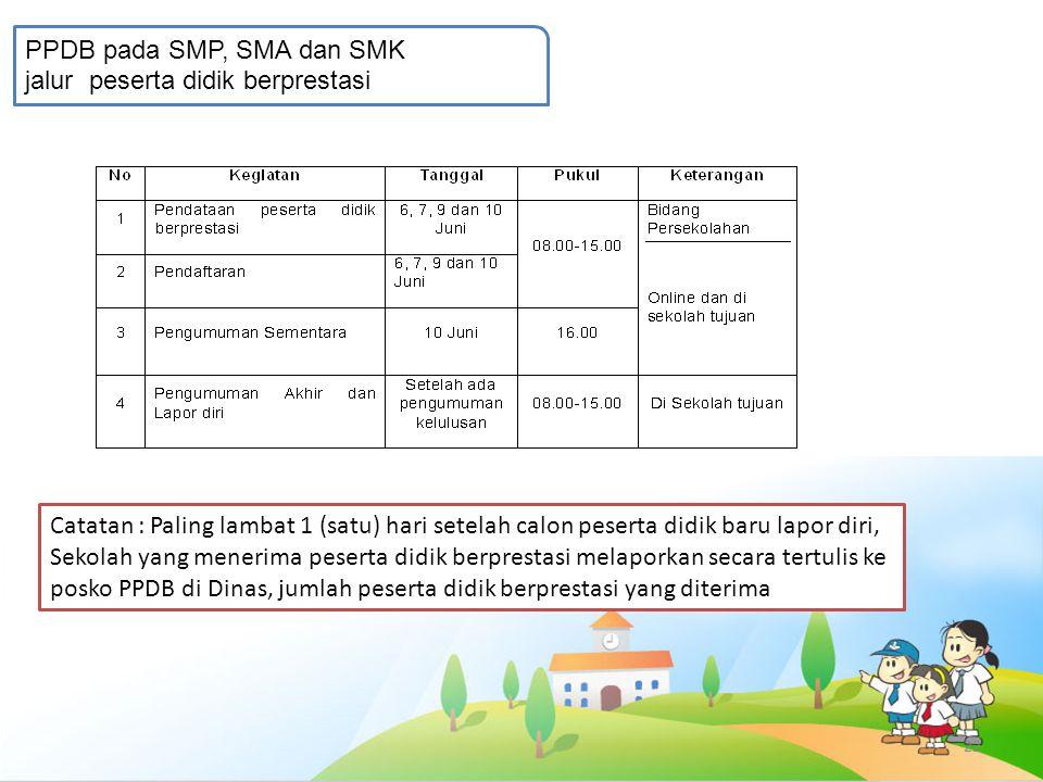 22 PPDB pada SMP, SMA dan SMK jalur peserta didik berprestasi Catatan : Paling lambat 1 (satu) hari setelah calon peserta didik baru lapor diri, Sekol