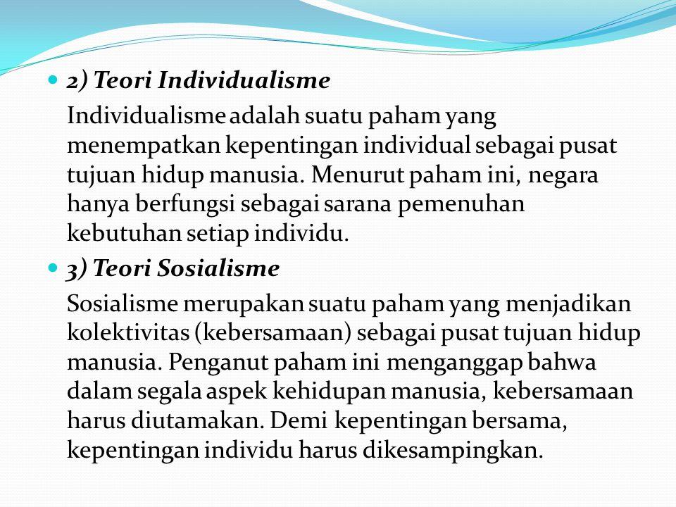 2) Teori Individualisme Individualisme adalah suatu paham yang menempatkan kepentingan individual sebagai pusat tujuan hidup manusia. Menurut paham in