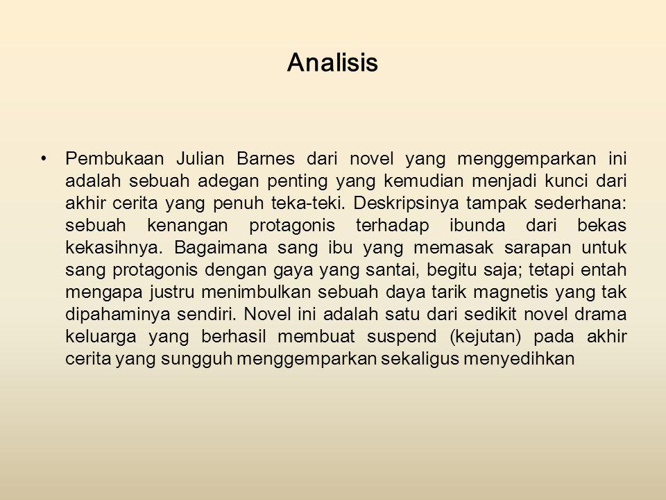 Analisis Pembukaan Julian Barnes dari novel yang menggemparkan ini adalah sebuah adegan penting yang kemudian menjadi kunci dari akhir cerita yang pen