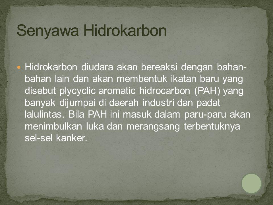 Hidrokarbon diudara akan bereaksi dengan bahan- bahan lain dan akan membentuk ikatan baru yang disebut plycyclic aromatic hidrocarbon (PAH) yang banya