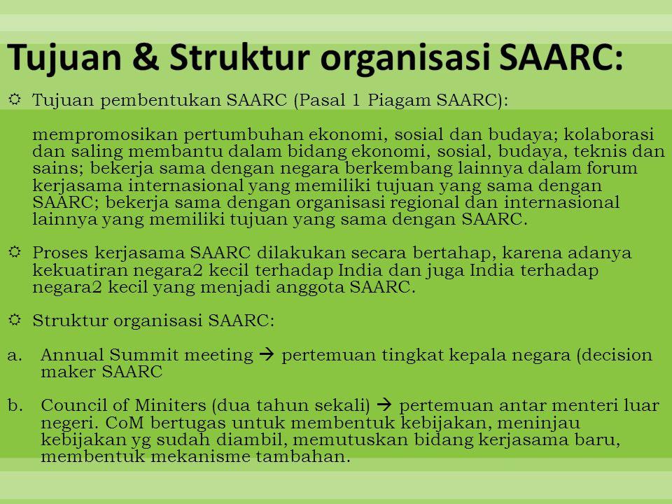  Tujuan pembentukan SAARC (Pasal 1 Piagam SAARC): mempromosikan pertumbuhan ekonomi, sosial dan budaya; kolaborasi dan saling membantu dalam bidang e