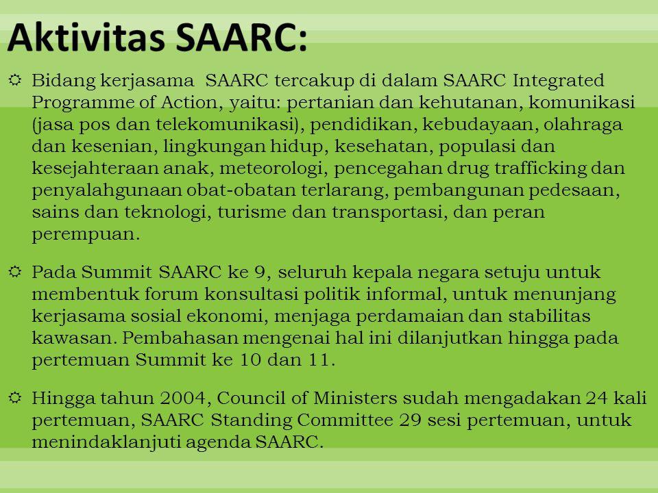  Bidang kerjasama SAARC tercakup di dalam SAARC Integrated Programme of Action, yaitu: pertanian dan kehutanan, komunikasi (jasa pos dan telekomunika