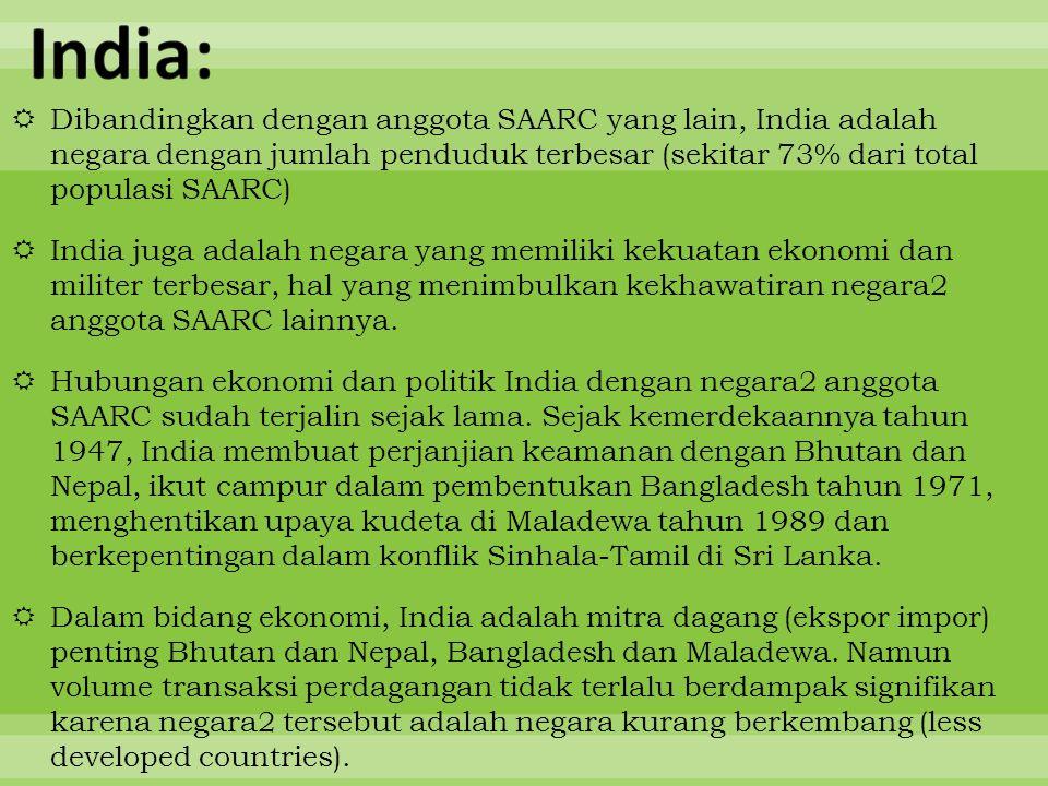  Dibandingkan dengan anggota SAARC yang lain, India adalah negara dengan jumlah penduduk terbesar (sekitar 73% dari total populasi SAARC)  India jug