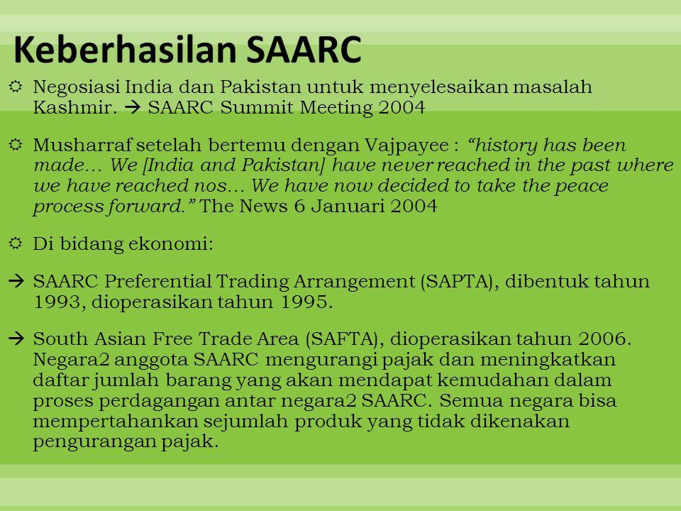 """ Negosiasi India dan Pakistan untuk menyelesaikan masalah Kashmir.  SAARC Summit Meeting 2004  Musharraf setelah bertemu dengan Vajpayee : """"history"""