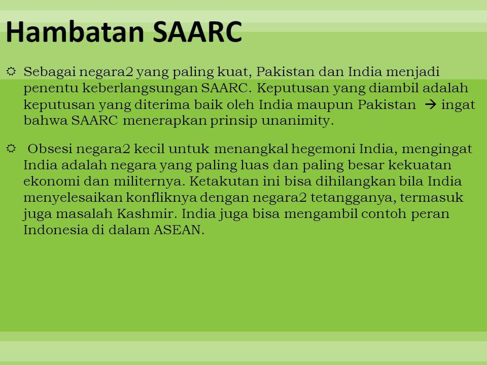  Sebagai negara2 yang paling kuat, Pakistan dan India menjadi penentu keberlangsungan SAARC. Keputusan yang diambil adalah keputusan yang diterima ba