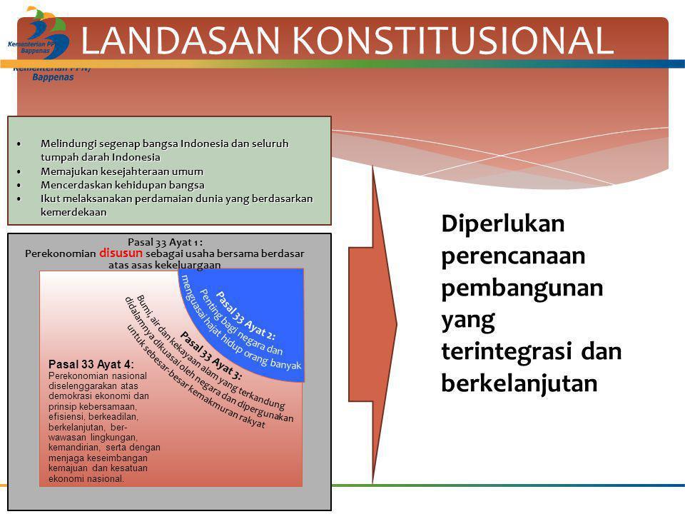LANDASAN KONSTITUSIONAL Diperlukan perencanaan pembangunan yang terintegrasi dan berkelanjutan Pasal 33 Ayat 4: Perekonomian nasional diselenggarakan