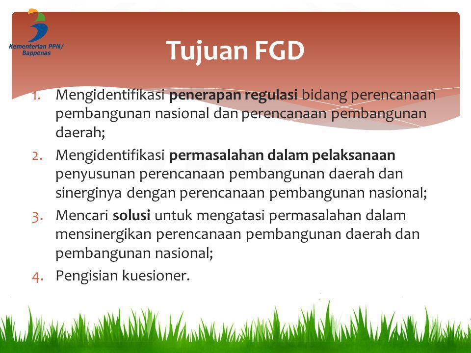 Tujuan FGD 1.Mengidentifikasi penerapan regulasi bidang perencanaan pembangunan nasional dan perencanaan pembangunan daerah; 2.Mengidentifikasi permas