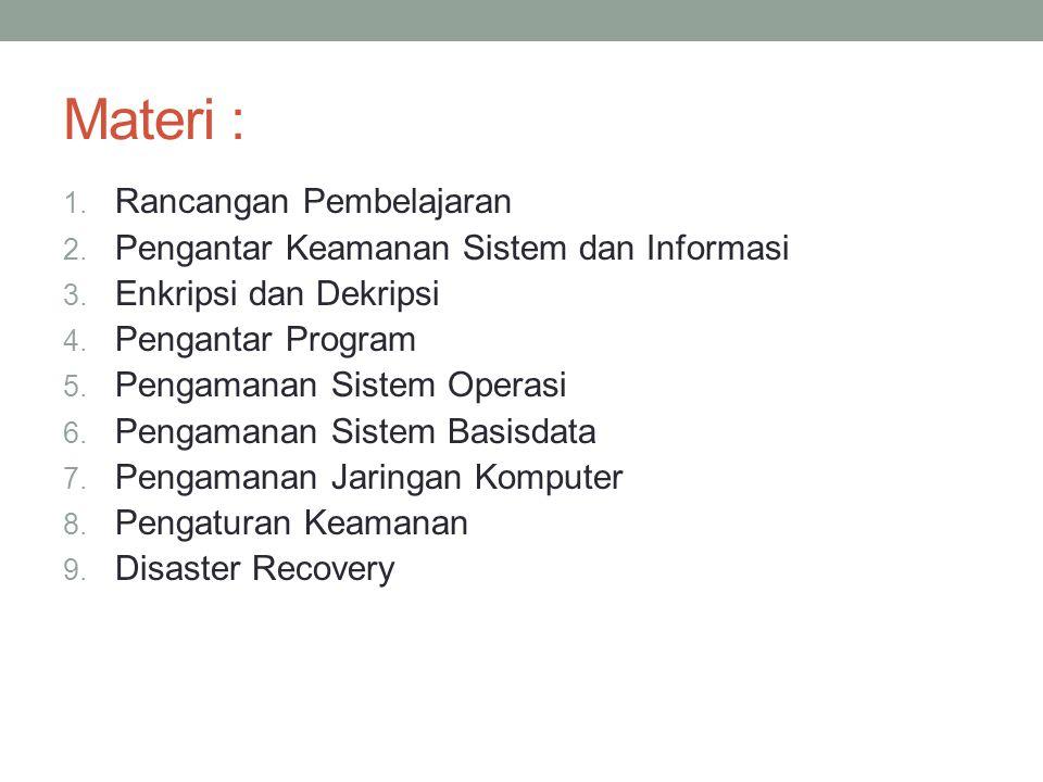 Materi : 1. Rancangan Pembelajaran 2. Pengantar Keamanan Sistem dan Informasi 3. Enkripsi dan Dekripsi 4. Pengantar Program 5. Pengamanan Sistem Opera